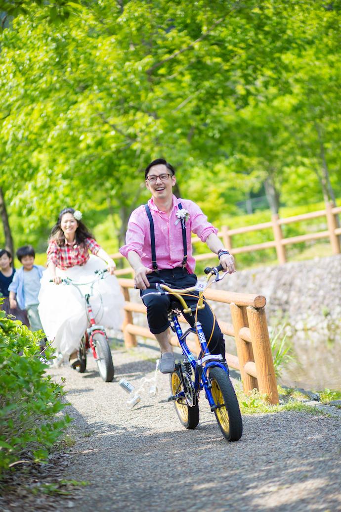 お色直し入場は、My自転車で登場!!
